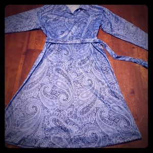 Haband for Her Blue Paisley 1970s Vintage Dress